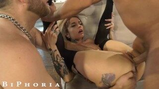 Wild Tattooed Babe Double Teamed By Hot Gay Couple In Bi Threesome – BiPhoria